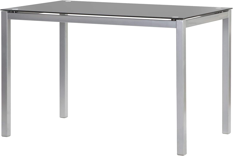 MOMMA HOME Mesa de Comedor - Modelo Tibia - Color Negro/Plata - Material Cristal Templado/Metal - Medidas 110 x 70 x 75 cm