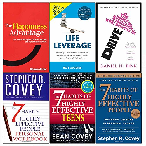 Happiness advantage, drive, life leverage, 7 habits of highly effective people and teens and personal workbook 6 books collection set