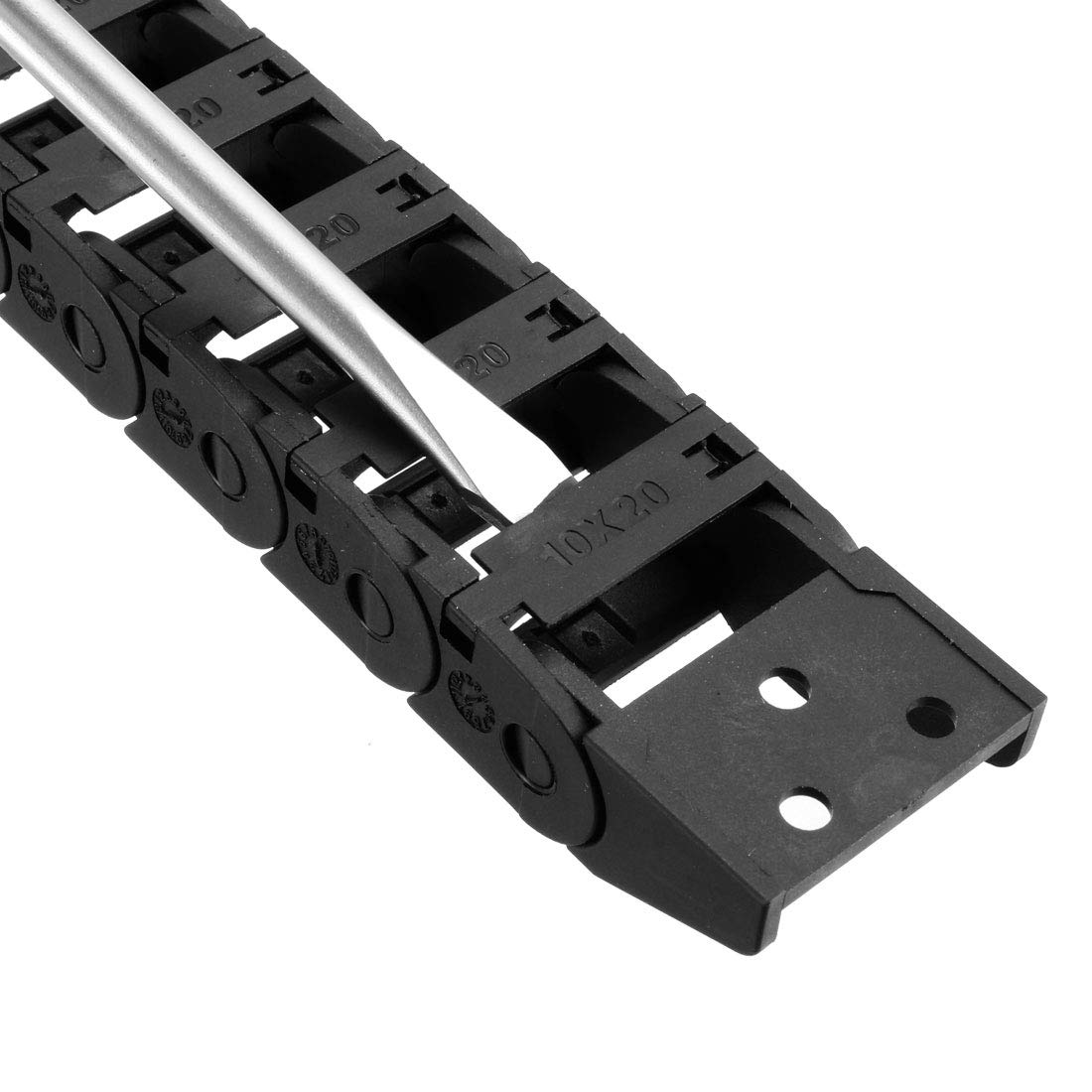 uxcell Drag Chain Cable Carrier Open Type with End Connectors R55 25X57mm 1 Meter Plastic for Electrical CNC Router Machines Black