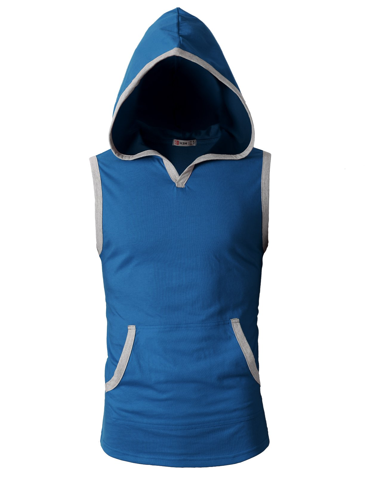H2H Mens Athletic Workout Shirt Weightlifting Bodybuilding Stringer Gym Sleeveless Hoodie Tank Top Blue US S/Asia M (CMTTK015)