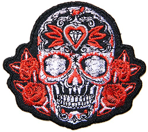 Dimond Red Rose Sugar Skull Day of the Dead Lady Rider Biker Rockability T-shirt Polo Tee Patch Iron on Embroidery Custome ()