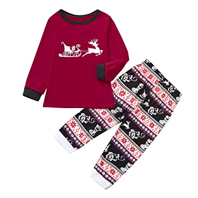 HLHN Matching Family Pajamas Christmas Deer Outfits Sleepwear Clothes Set  Tops + Pants Stripe PJS Parent ea8ae68fa