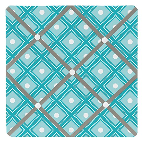 Sweet Jojo Designs Turquoise White and Gray Mod Elephant Fabric Memory/Memo Photo Bulletin Board