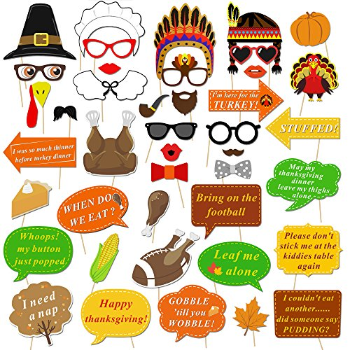 Thanksgiving Photo Booth Props Kit(42Pcs), Konsait Funny Turkey Day Photo Booth Accessories DIY Selfie Props Set with Stick for Happy Thanksgiving Theme Party Favors Decorations Decor Supplies - Turkey Pumpkin Kit