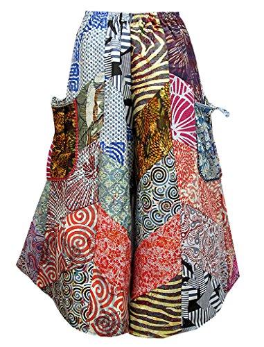 Women's Patchwork Tie Waist Pocket-Side Wide Leg Gaucho Capris Pants - P0496