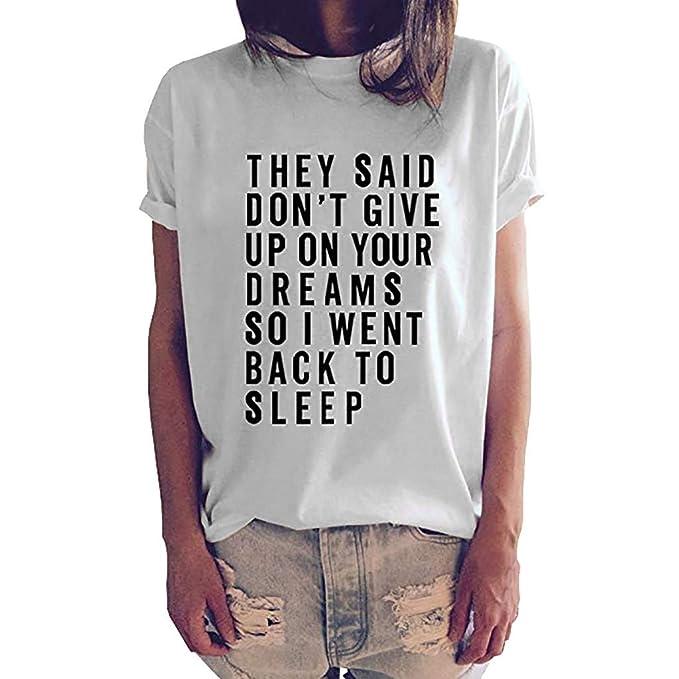 aef01093d Luckycat Camisetas Mujer Manga Corta Camisetas Mujer Tallas Grandes Camisetas  Mujer Verano Blusa Mujer Sport Tops Mujer Verano Casual Blusa Blanco  ...
