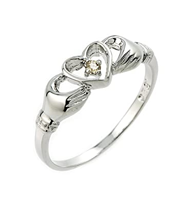 Amazon.com: Plata de ley 925 Solitaire champaña Diamante ...