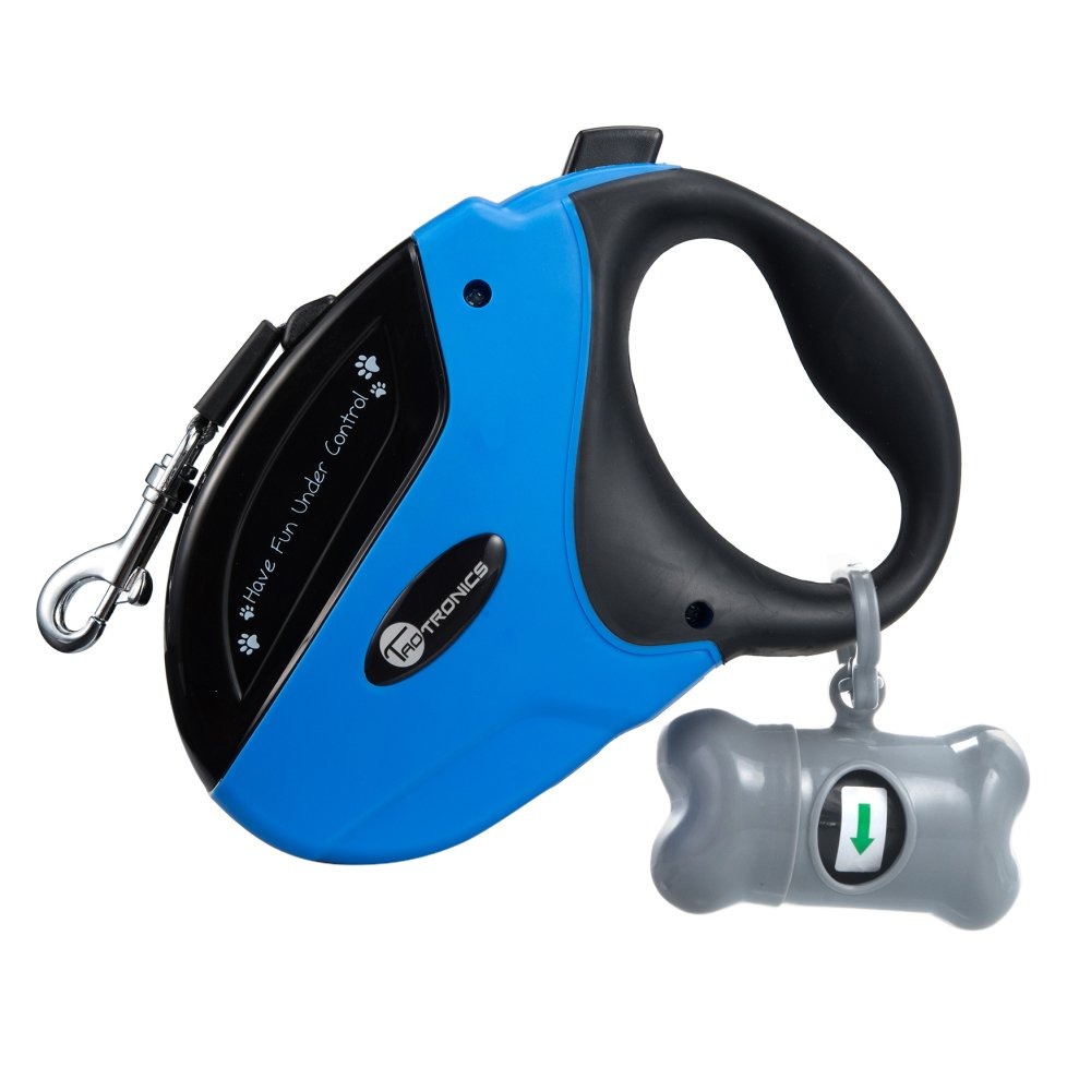 TaoTronics Retractable Dog Leash, 16 ft Dog Walking Leash for Medium Large Dogs up to 110 lbs, Tangle Free, One Button Break & Lock, Dog Waste Dispenser and Bags included, Blue