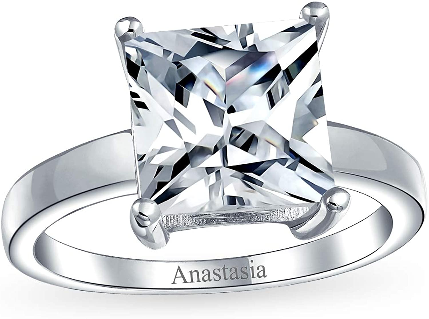 Elegant 2cts,3ct,4ct Princess Cut Black Diamond Solitaire Unisex Ring in 925 Silver