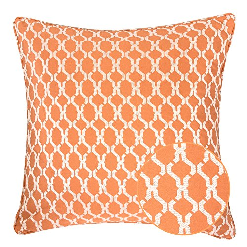 Homey Cozy Jacquard Cotton Throw Pillow Cover,Orange Quatrefoil Modern Silk Plaid Textured Sofa Couch Decorative Pillow Case 20x20,Cover (Orange Silk Accent Pillow)