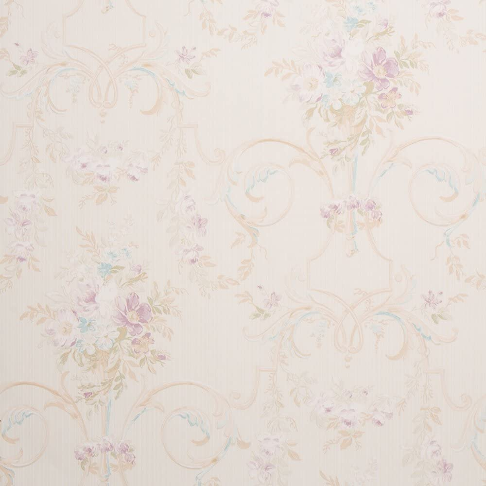 Cottage Floral Beige Shabby Chic Wallpaper For Walls Double Roll
