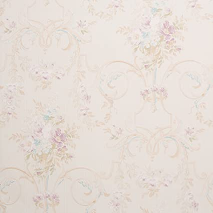 cottage floral beige shabby chic wallpaper for walls sample swatch rh amazon com Teal Shabby Chic Wallpaper shabby chic flower wallpaper