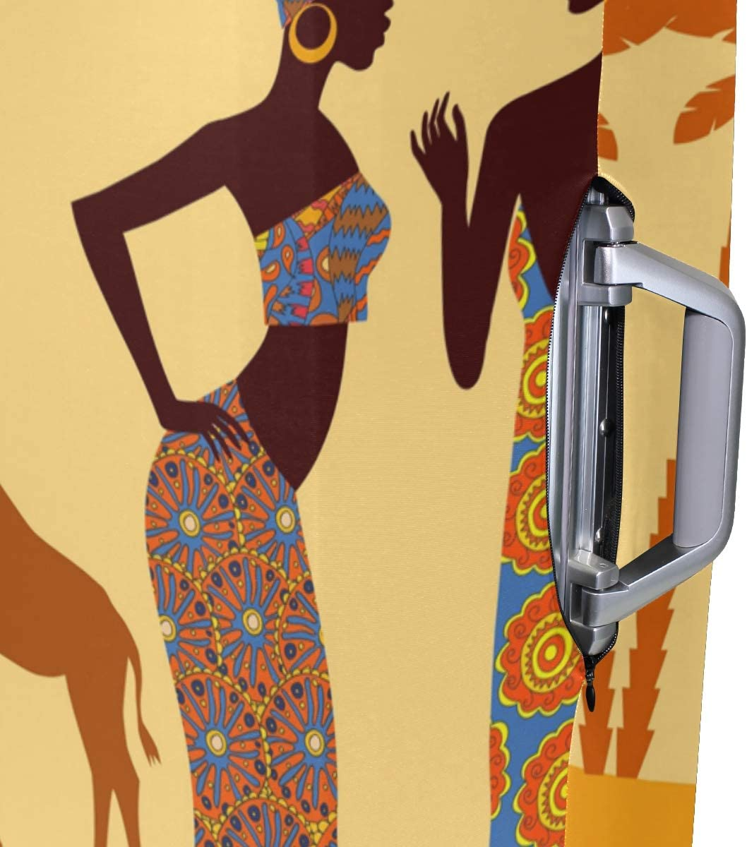 GIOVANIOR African Women Tropical Giraffe Elephant Luggage Cover Suitcase Protector Carry On Covers