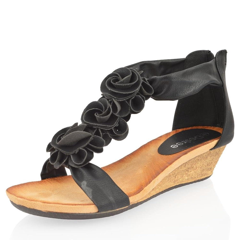 Flat heel sandals images - Womens Ladies Summer Sandals Low Wedge Flat Heel Zip Flower Beach Shoe Size 3 8 Amazon Co Uk Shoes Bags