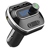 QPAU FMトランスミッター Bluetooth 高音質 音楽再生 USBカーチャージャー ハンズフリー通話 TFカード適応