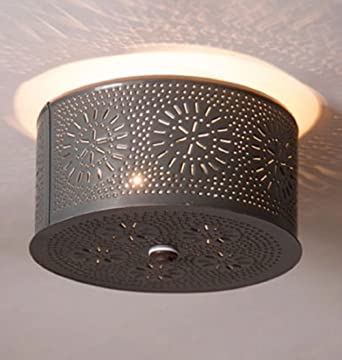 Primitive round ceiling light with chisel punched tin designcountry primitive round ceiling light with chisel punched tin designcountry lighting aloadofball Images