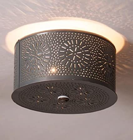 PRIMITIVE ROUND CEILING LIGHT WITH CHISEL PUNCHED TIN DESIGN/COUNTRY ...