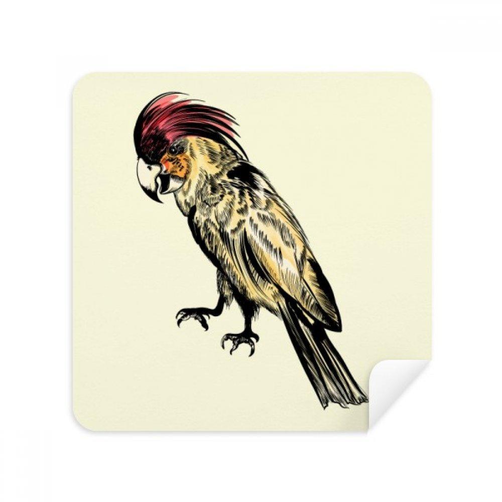 イエローフェザーオウム鳥メガネクリーニングクロス電話画面クリーナースエードファブリック2pcs   B07C96KV5B