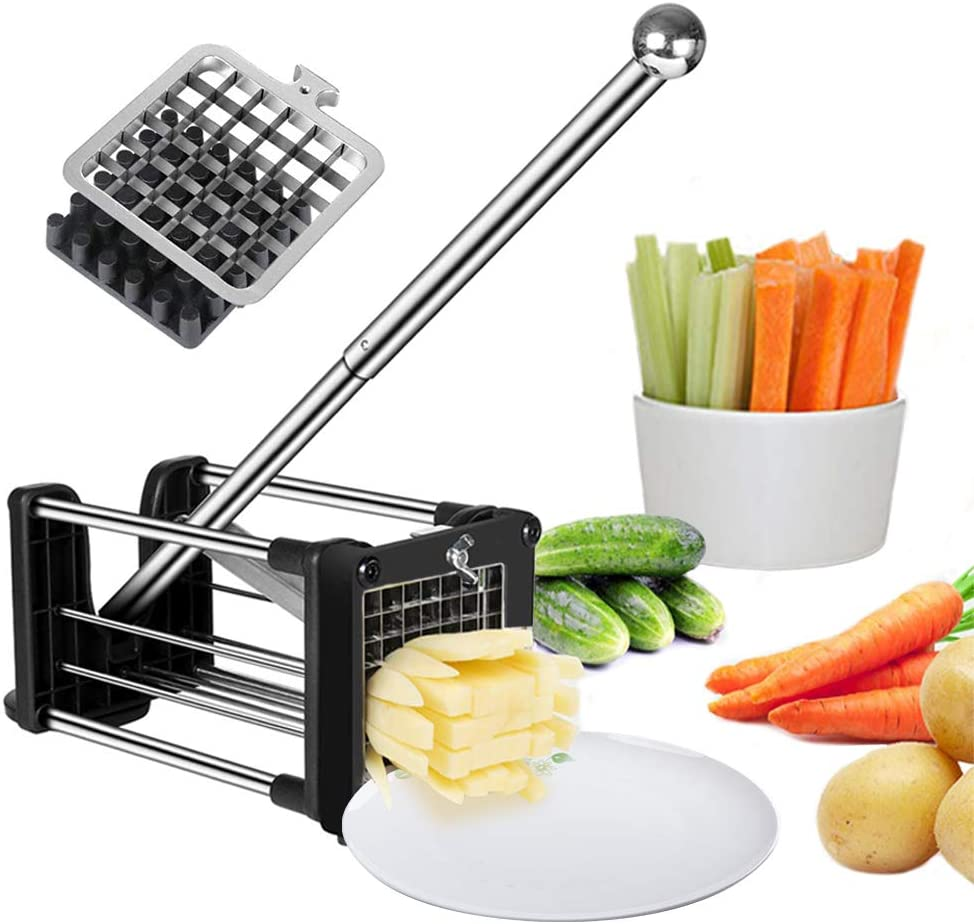 French Fries Cutter Fry Maker Press Stainless Steel Potato Slicer with 2 Blades(1/2