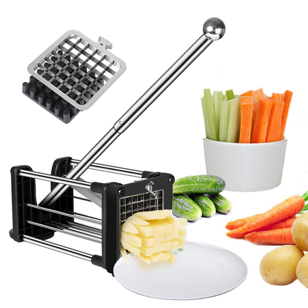 French Fry Cutter Potato Chipper with 2 Interchangeable Heavy Duty Stainless Steel Blades and Extended Handle Round Bottom Force Sucker Vegetable Slice Chipper by votron