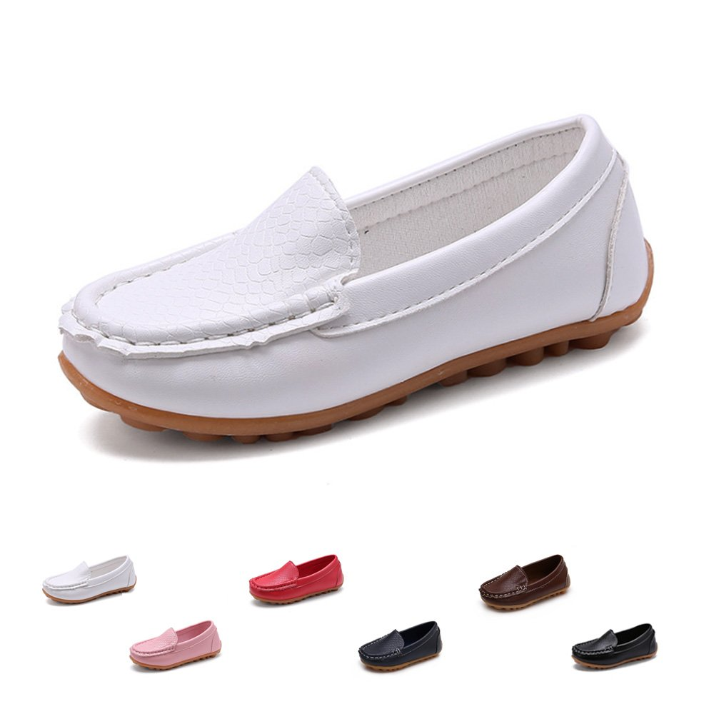 SOFMUO Boys Girls Leather Loafers Slip-On Oxford Flats Boat Dress Schooling Daily Walking Shoes(Toddler/Little Kids) White,26