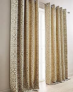 """DAMASK SAGE GREEN CREAM 65"""" X 72"""" - 165CM X 183CM FULLY LINED RING TOP CURTAINS DRAPES & 4 X CUSHION COVERS PILLOWCASE SHAMS"""