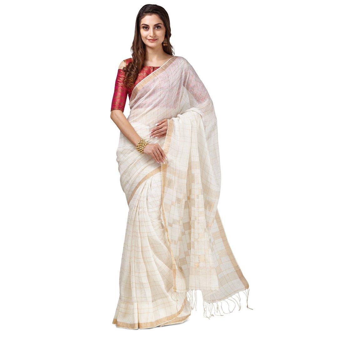 Sakhi Womens Pure Linen Saree Free Size Cream,Gold