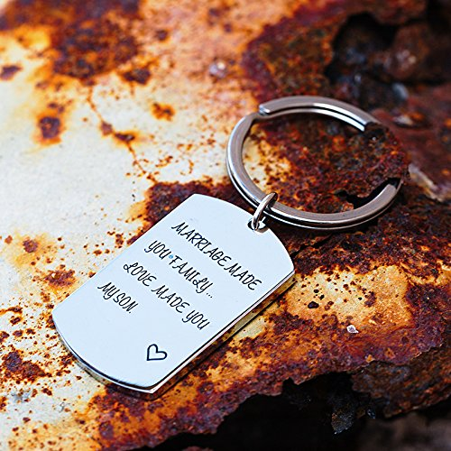 omodofo Marriage Made You My Family Love Made You My Son Wedding Party Gift Son In law Fathers Day Gift Keychain by omodofo (Image #2)