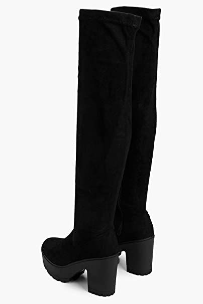 dc06dac13af Boohoo Womens Tia Cleated Block Heel Over The Knee Boot in Black size 5