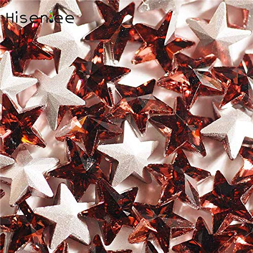Kamas 20pcs/Bag 10mm New PentagramSolid Color Multicolor Mixed Color Shiny 3D Crystal Glass Nail Supplies DIY Finger Orn - (Color: Wine red)