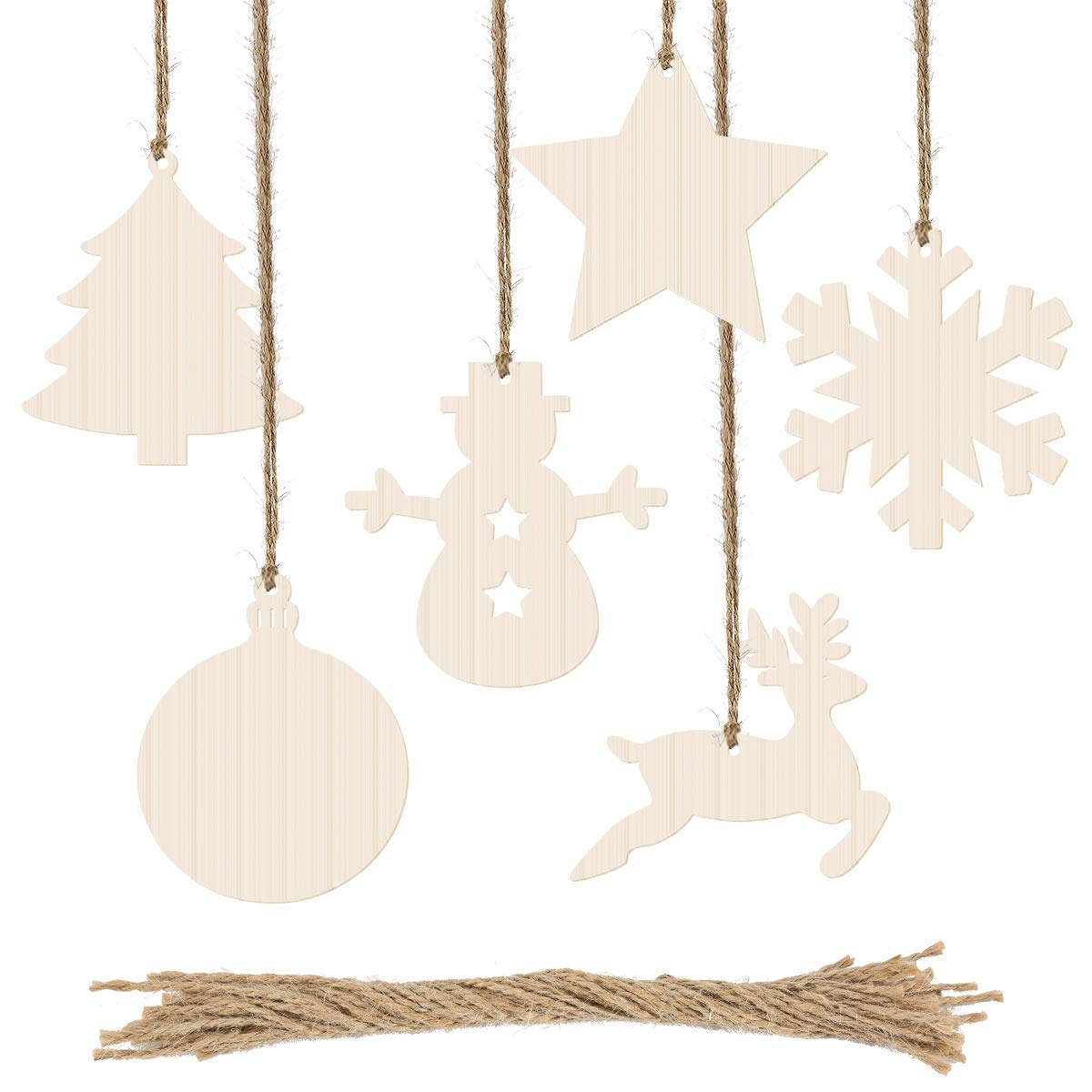 Biubee 60 Pcs Christmas Wooden Cutouts- Christmas Wood Slices Wooden Hanging Ornaments with Jute Twine for Kids Crafts, Wedding Festival Christmas Tree Embellishments