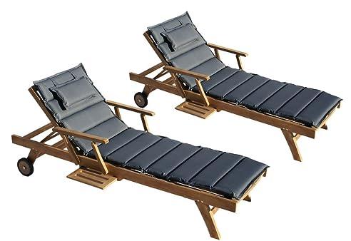 Sonnenliege holz mit auflage  Amazon.de: Teak Holz Liege Gartenliege Sonnenliege 2 Stueck + ...