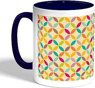 كوب سيراميك للقهوة بتصميم رسومات تشكيلية ، لون ازرق
