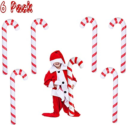 6 Tetor Inflatable Candy Canes for Christmas Decorations Candy Canes Balloons for Party Decorations Outdoor Candy Canes Decorations
