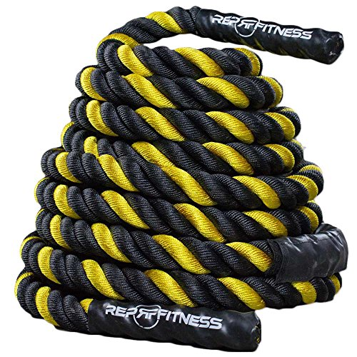 Rep V2 Yellow Battle Rope, 1.5 inch - 30 ft (30 Foot Battle Rope)