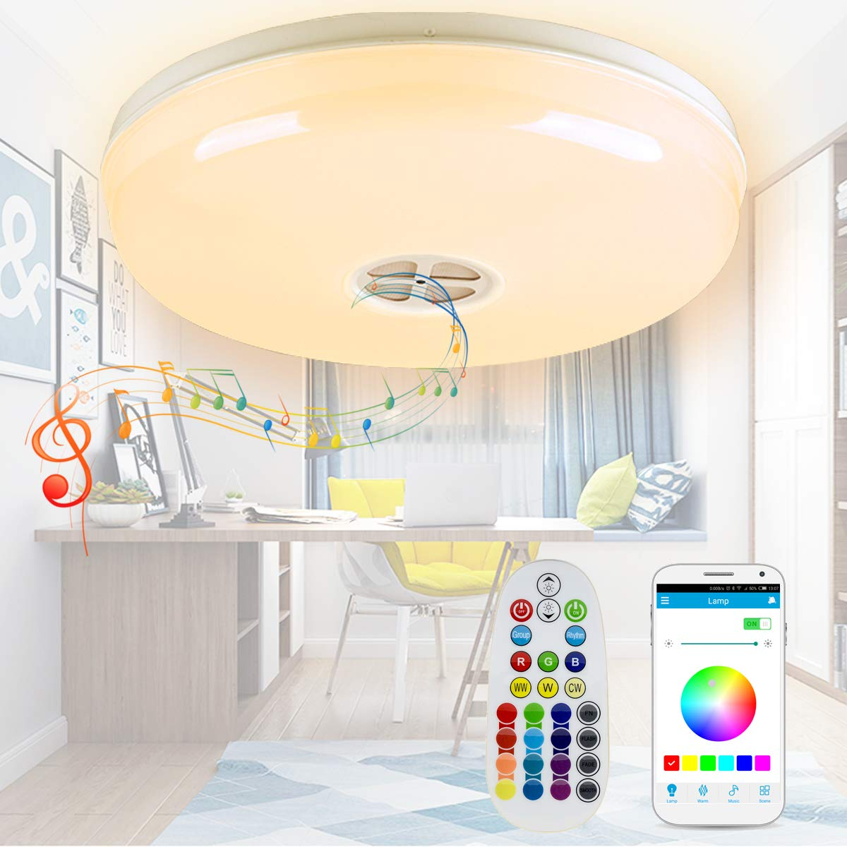 Autai Smart LED Ceiling Light Multi Color Changing And Dimmable With Bluetooth APP Sound Speaker For Living Room Bedroom Dining
