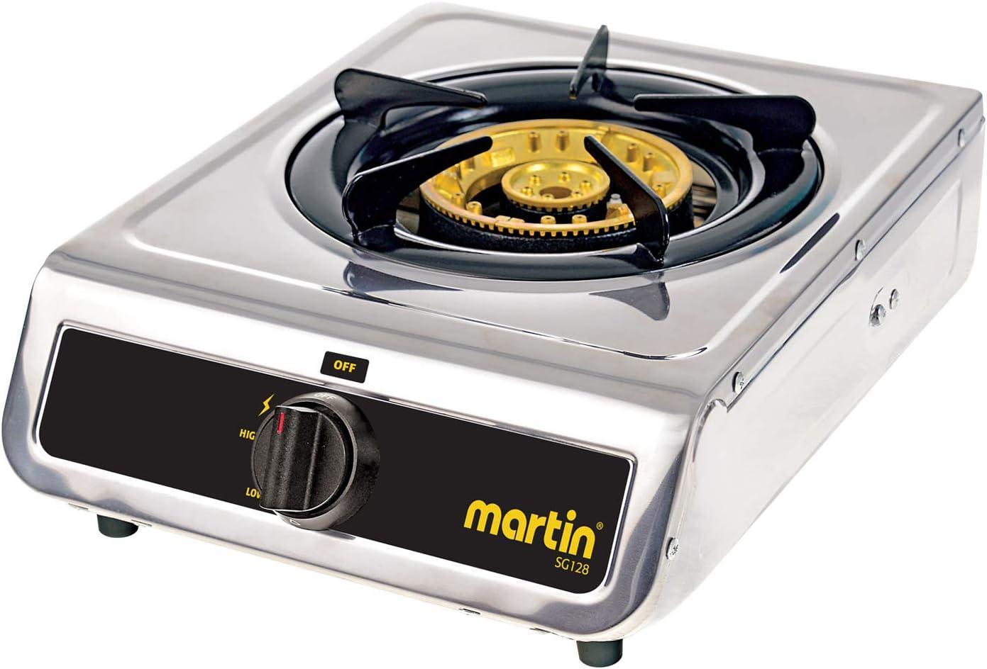 Martin SG-128 Propane Hot Plate Cooking Stove Cooktop 12,800 BTU Powered Brass Burner with Pressure Regulator