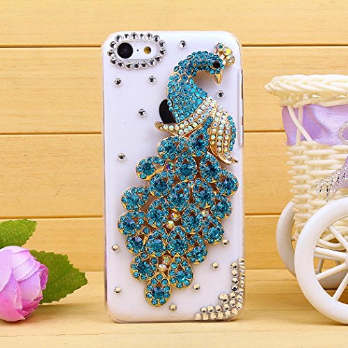 Water & Wood 1pcs Luxury Glitter Rhinestone Sky Blue Peacock Transparent Clear Back Case Cover for iPhone 5C