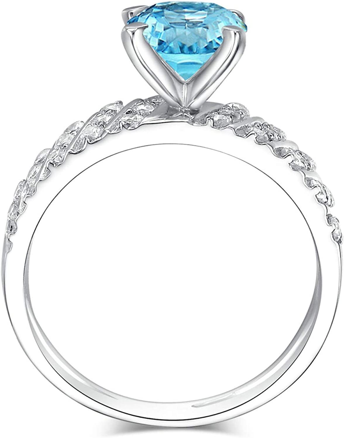 AMDXD Jewellery 925 Sterling Silver Wedding Rings for Women Blue Round Cut Topaz 4 Claw Round Ring