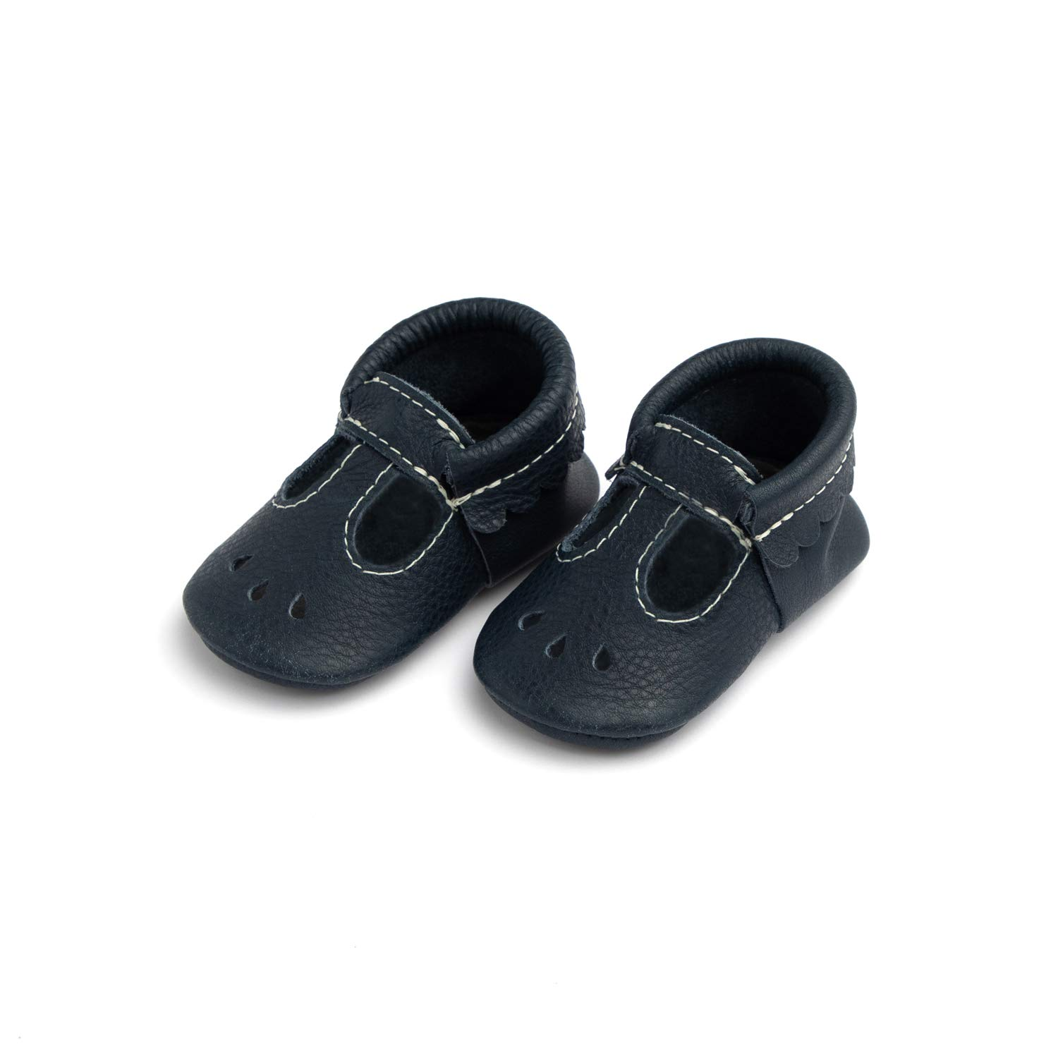 Freshly Picked - Soft Sole Leather Mary Jane Moccasins - Baby Girl Shoes - Size 1 Navy Blue by Freshly Picked