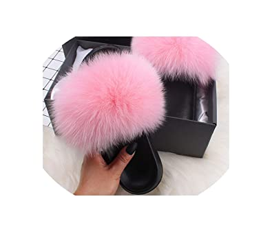 df1d6dc6fc805 Newest Slippers Real F-o-x/Raccoon F-u-r Slides Indoor Flip Flops Casual Sandals  Fluffy Plush Shoes