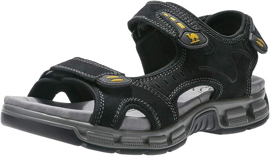 CAMEL CROWN Sandale Hommes de Randonnee Cuir Trekking Sports Outdoor Plage Marche Sandales Respirant Bout Ouvert Sandale Chaussures été Décontracté