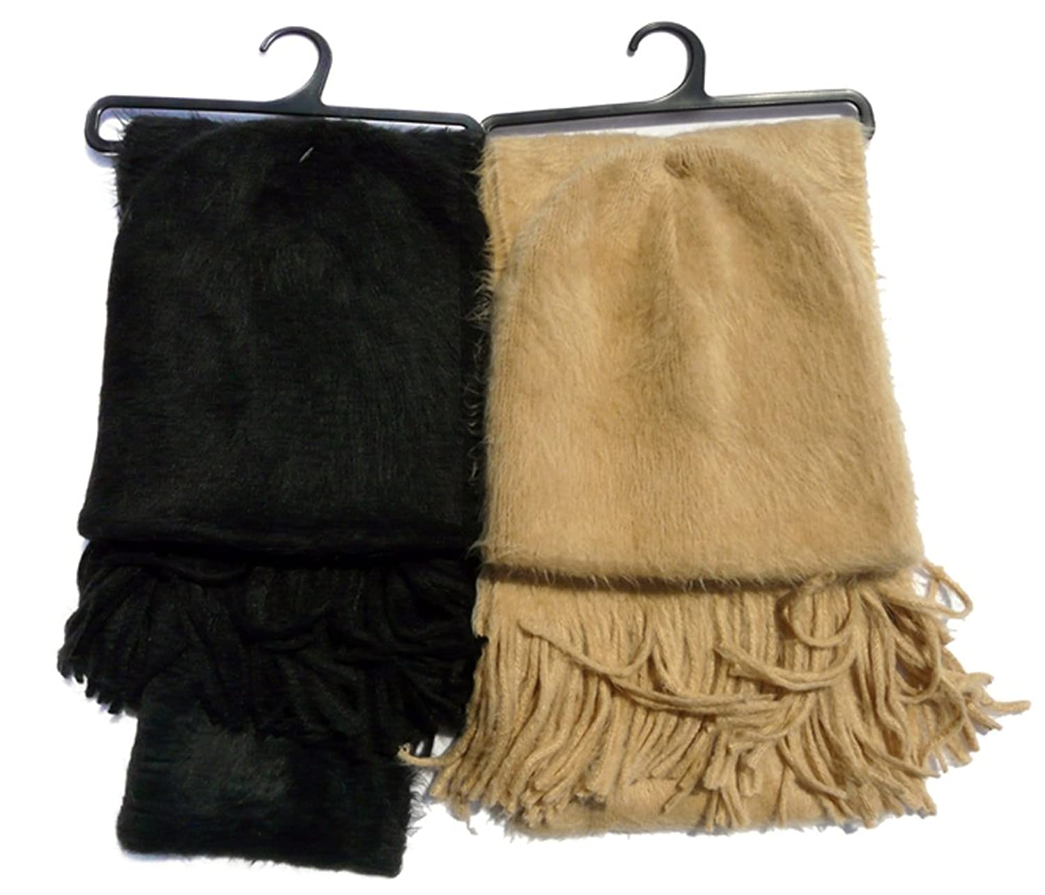 Schonfeld 2-Pack Faux Fur Fuzzy Fashion Scarf Set - Black and Tan