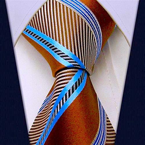 Scott Allan Mens Azure Striped Necktie - Brown and Blue