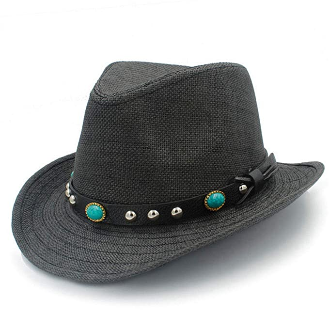 August Jim Mens Western Cowboy Hats Summer Beach Fashion Sombrero Sun Cap  Unisex Black  Amazon.ca  Clothing   Accessories 3a02f83fa4b5
