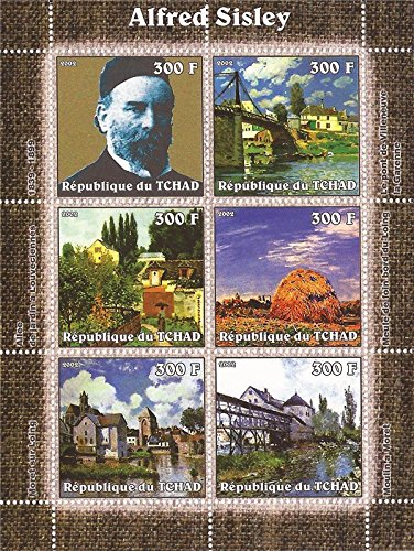 Chad - 2002 Alfred Sisley Paintings- 6 Stamp Sheet - - 3B-414