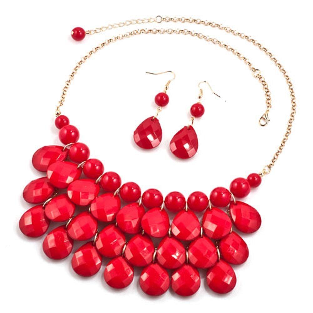 DemiJewelry Bubble Teardrop Bead Bib Collar Red Statement Necklace Earrings Set for Women
