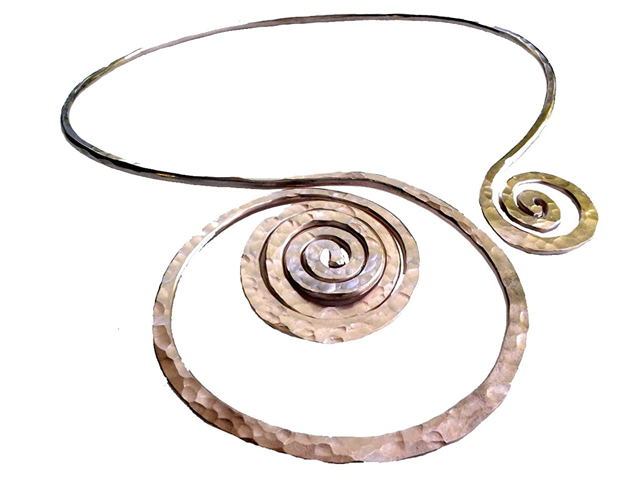 Elaments Design Solid Copper Chakra Collar Necklace Rising Sunset Design Fits Neck Sizes 13-15 Inches
