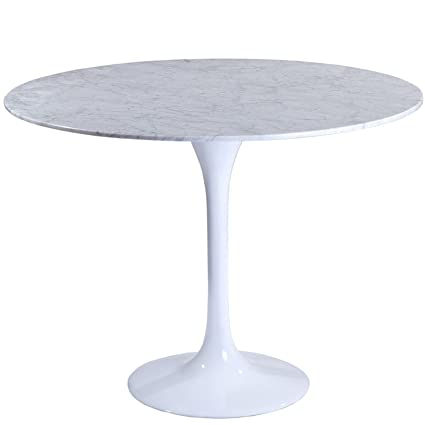 Modway 40u0026quot; Eero Saarinen Style Tulip Dining Table With White Marble Top