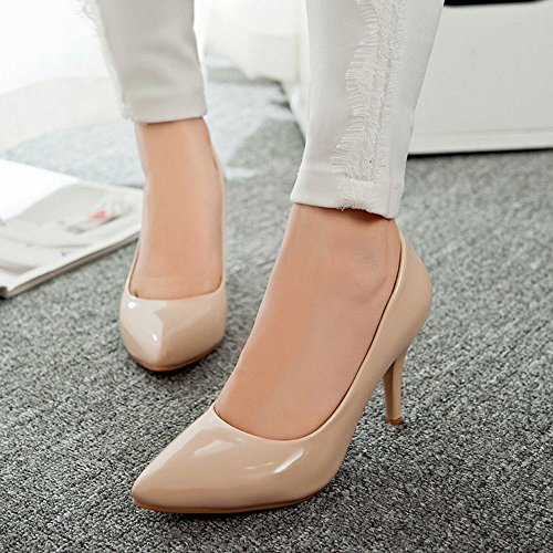 COOLCEPT Mujer Moda Tacon de Aguja Tacon Alto Basico Trabajo Boca Baja Zapatos Extra Tamano Albaricoque